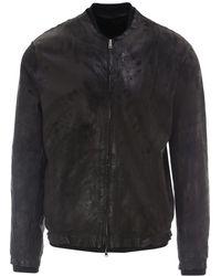 Salvatore Santoro Vintage Effect Leather Bomber Jacket - Black