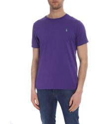 Polo Ralph Lauren Embroidered Logo Cotton T-shirt - Purple