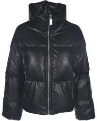 Michael Kors Faux Leather Down Jacket - Black