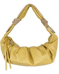 Borbonese Duna Leather And Suede Bag - Green