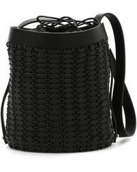Paco Rabanne Leather Discs Bucket Bag - Black