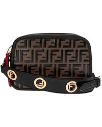 Fendi - Camera Case Black And Brown Ff Leather Bag - Lyst