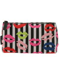 Lulu Guinness - Lip Blots Striped Black And White Beauty Case - Lyst
