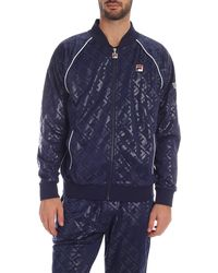 Fila Embossed Warm Up Track Sweatshirt In Blue