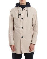 Fay Tech Fabric Raincoat - Natural