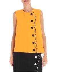 Vivetta Orange Quast Top With Black Embroidery