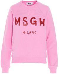 MSGM - Felpa Rosa Con Logo A Contrasto - Lyst