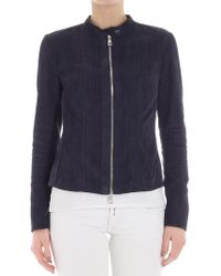 DESA NINETEENSEVENTYTWO - Blue Stretch Fabric And Suede Jacket - Lyst