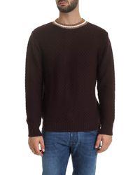 Eleventy Pullover in tessuto tramato color vinaccia - Nero