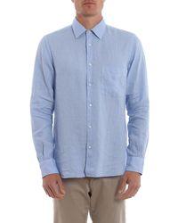 Aspesi Linen Shirt With Patch Pocket - Blue