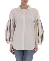 Pence Beige Tulia Shirt With Puffed Sleeves - Natural