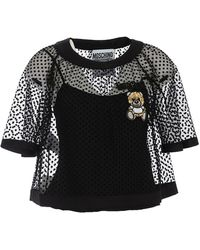 Moschino Teddy Embroidery Plumetis Top - Black