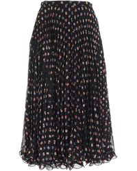 See By Chloé Floral Pattern Pleated Skirt - Black
