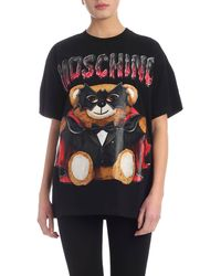 Moschino - T-Shirt Bat Teddy Bear Nera - Lyst