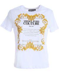 Versace Jeans Couture T-Shirt Bianca Con Stampa Etichetta Gold Baroque - Bianco