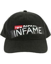 DIESEL Cappello nero con stampa Infame