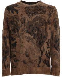 Avant Toi Bouclé Jacquard Sweater - Brown