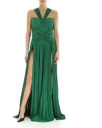 Elisabetta Franchi Green Lamè Dress With Pleated Skirt