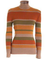 Alberta Ferretti Striped Multicolor Turtleneck