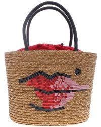Lulu Guinness Suzy Beauty Spot Bag In Straw - Multicolor