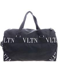 Valentino Valentino Garavani Logo Webbing-trimmed Nylon Duffle Bag - Black