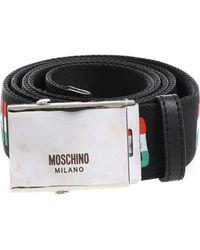 Moschino - Black Canvas Branded Belt - Lyst