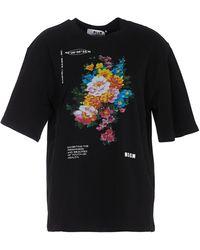 MSGM T-Shirt Oversize Nera Stampa Floreale - Nero