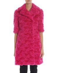 Moschino Fuchsia Eco-fur Coat - Multicolour
