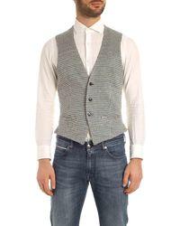 L.B.M. 1911 Houndstooth Knit Vest - White