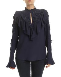 See By Chloé - Ink Navy Blouse With Embroidery - Lyst