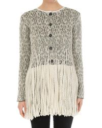 Loewe - Beige And White Woven Cardigan - Lyst