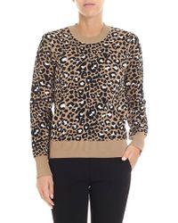 Tara Jarmon - Beige, Black And Pink Animalier Sweatshirt - Lyst
