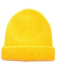 Roberto Collina Ribbed Knit Beanie - Yellow