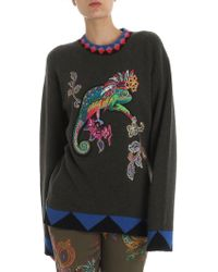 Etro - Green Pullover With Chameleon Embroidery - Lyst