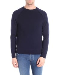 Paolo Pecora - Dark Blue Pullover With Knitted Effect - Lyst