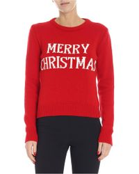 Alberta Ferretti Merry Christmas Knit Sweater - Red