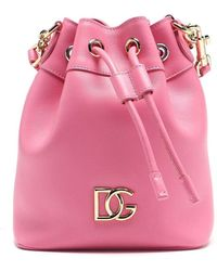 Dolce & Gabbana Dg Logo Leather Bucket Bag - Pink