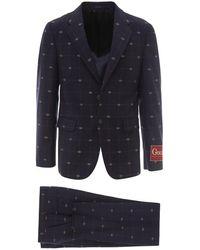 Gucci Gg Pattern Wool Suit - Blue