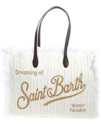 Mc2 Saint Barth Shopper Bianca Con Ricamo Logo - Bianco