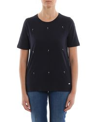 Fay T-shirt With Jewel Detail - Blue