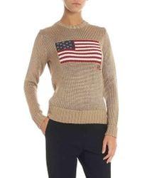 Polo Ralph Lauren Pullover a girocollo in tessuto lurex con bandiera - Metallizzato