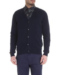 Etro - Blue Cardigan With Buttons - Lyst
