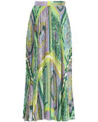 Versace Barocco Print Multicolour Pleated Skirt - Green