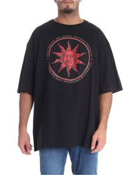Fausto Puglisi Black T-shirt With Red Sun Print