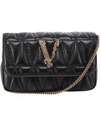 Versace Virtus Quilted Cross Body Bag - Black