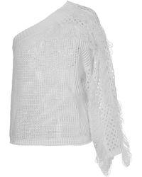 Genny Drilled Knit - White
