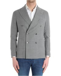 Tagliatore - Heather Gray Double-breasted Jacket - Lyst