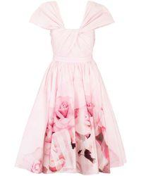 Alexander McQueen Flowers Printed Dress - Pink