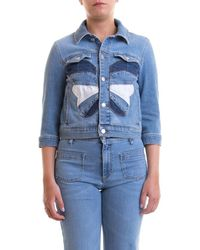 RED Valentino Butterfly Patch Denim Jacket - Blue