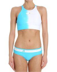 adidas By Stella McCartney Light-blue And White Top Bikini